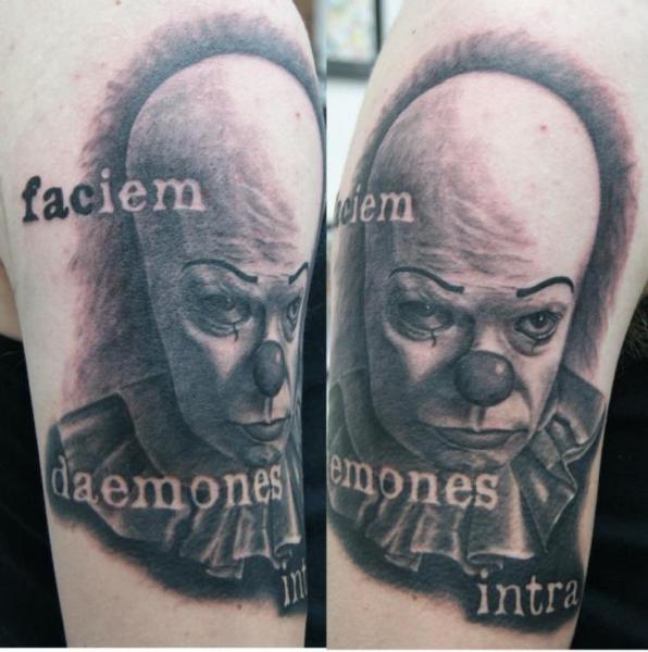 Arm Fantasy Clown Tattoo by Dragstrip Tattoos