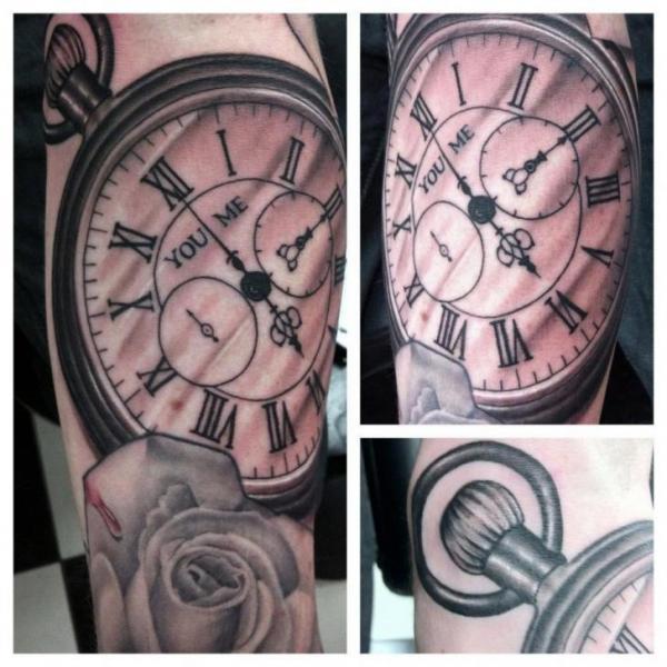 Arm Realistic Clock Tattoo by Dragstrip Tattoos