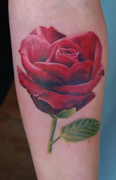 Arm Realistic Flower Tattoo by Dragstrip Tattoos