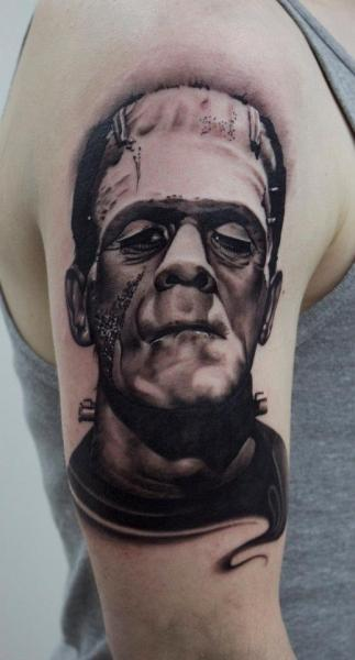 Shoulder Fantasy Frankenstein Tattoo by Dragstrip Tattoos
