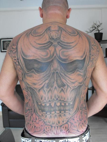 Skull Back Tattoo by Etched In Ikk