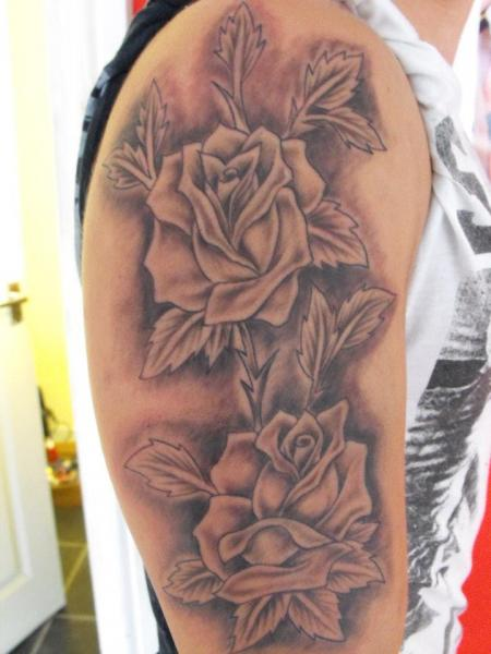 Shoulder Flower Tattoo by Etched In Ikk