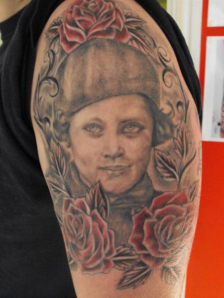 Shoulder Portrait Tattoo by Etched In Ikk