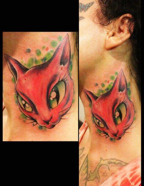 Fantasy Neck Cat Tattoo by Extreme Needle