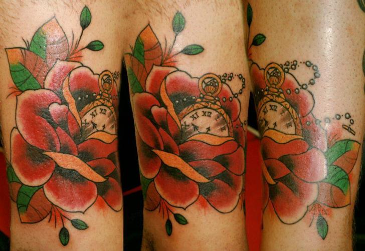 Old School Flower Tattoo by Extreme Needle