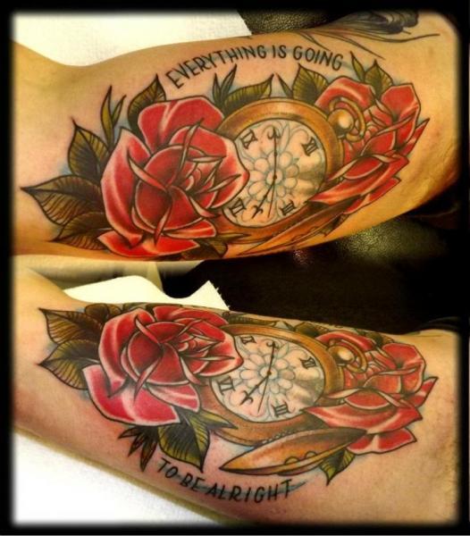 Arm Uhr Old School Blumen Tattoo von Fat Panda