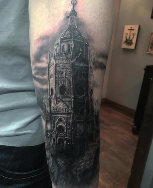 Arm Church Tattoo by Adrenaline Vancity