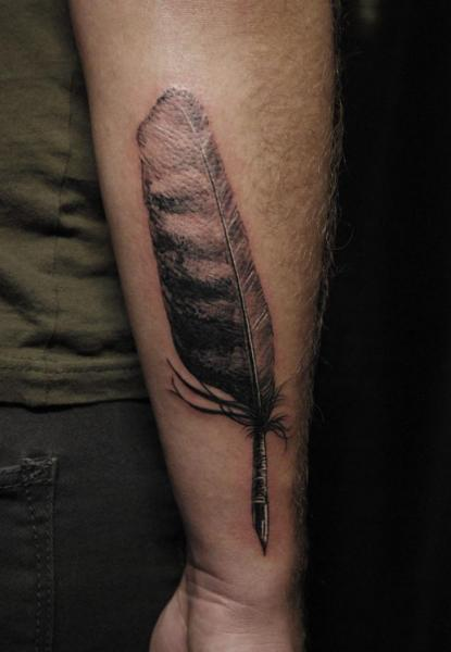 Arm Feather Tattoo by Adrenaline Vancity