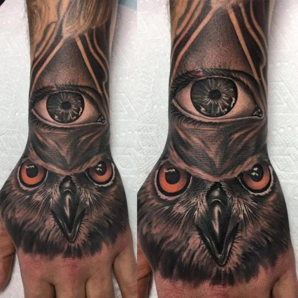 Arm Hand Eye Owl Tattoo by Adrenaline Vancity