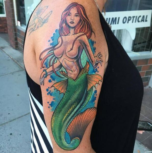 Arm Mermaid Tattoo by Adrenaline Vancity