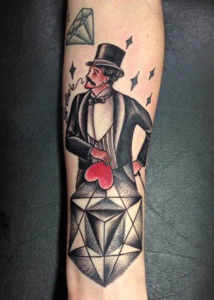 Arm Old School Magician Tattoo by Adrenaline Vancity
