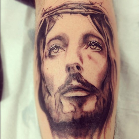 Arm Jesus Religious Tattoo by Adrenaline Vancity