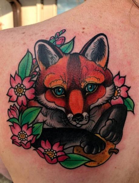 Rücken Fuchs Tattoo von Adrenaline Vancity