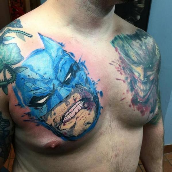 Chest Batman Tattoo by Adrenaline Vancity