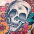 Chest Old School Skull tattoo by Adrenaline Vancity