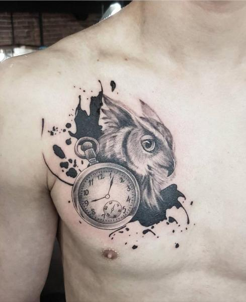 Clock Chest Owl Tattoo by Adrenaline Vancity