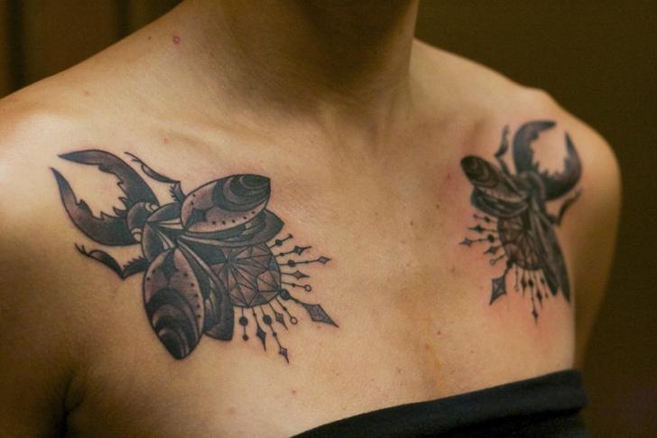 Chest Scrabble Tattoo by Adrenaline Vancity