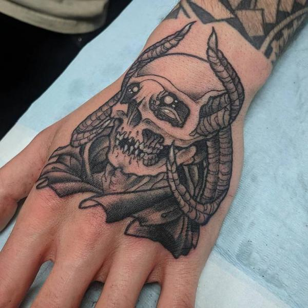 Skull Hand Tattoo by Adrenaline Vancity