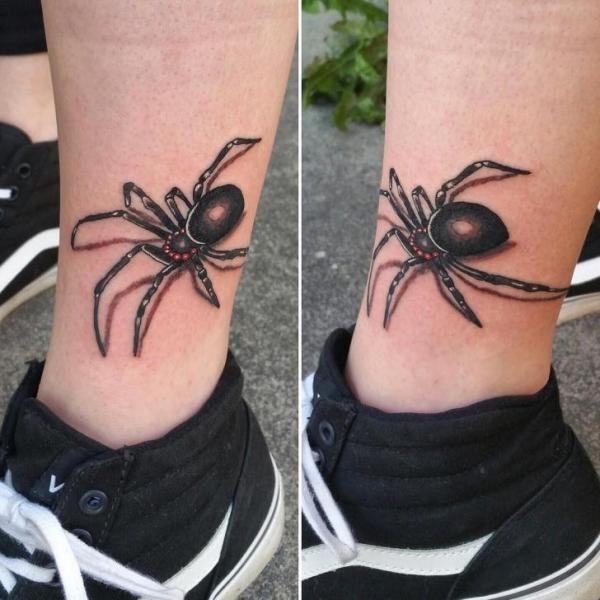 Leg Spider 3d Tattoo by Adrenaline Vancity
