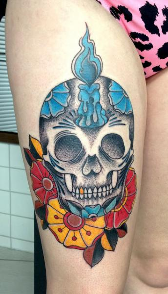New School Leg Skull Tattoo by Adrenaline Vancity