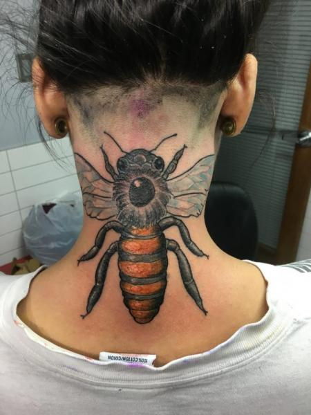 Neck Bee Tattoo by Adrenaline Vancity