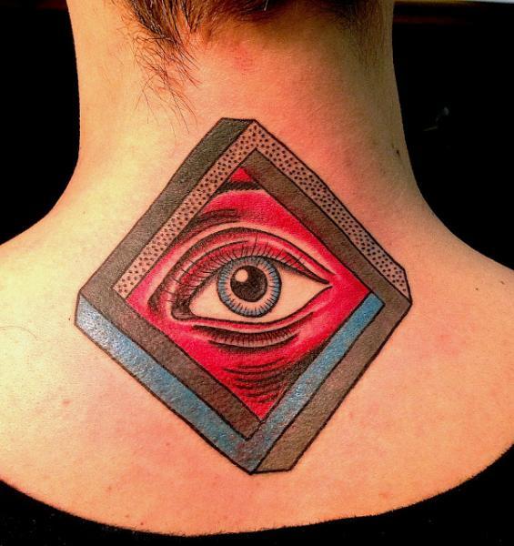 Fantasy Eye Neck Tattoo by Adrenaline Vancity
