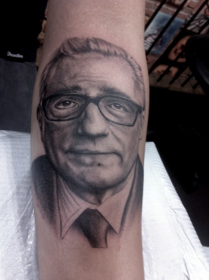 Portrait Realistic Martin Scorsese Tattoo by Adrenaline Vancity