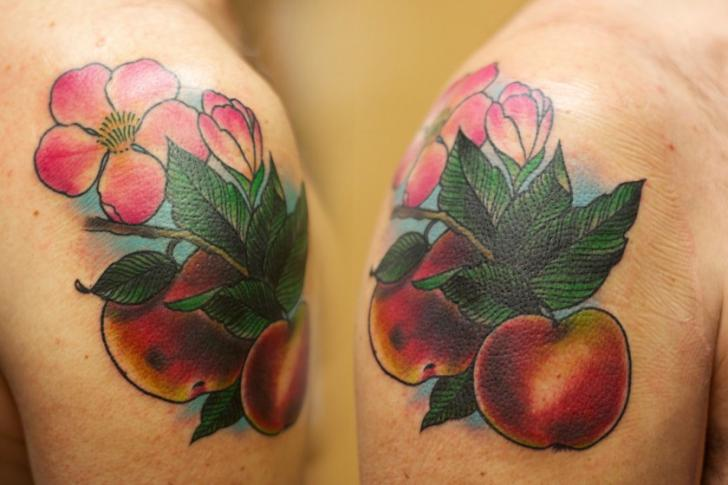 Shoulder Realistic Apple Tattoo by Adrenaline Vancity