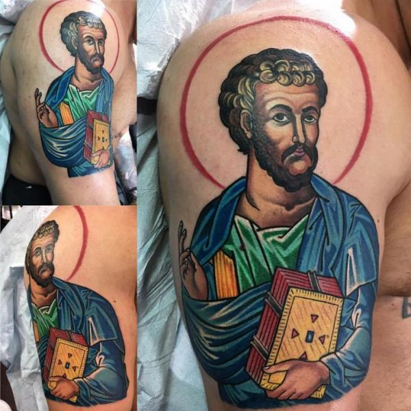 Shoulder Religious Tattoo by Adrenaline Vancity