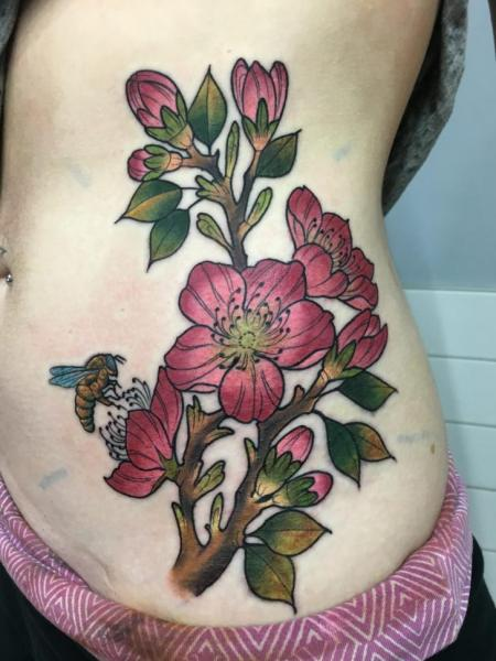 Flower Side Belly Tattoo by Adrenaline Vancity