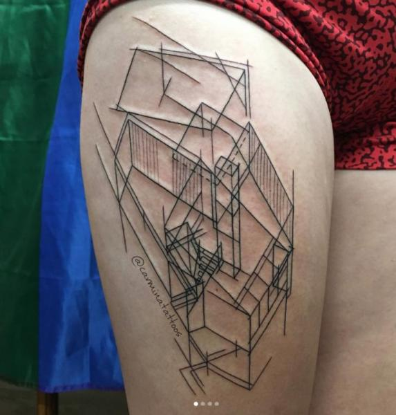 Thigh Abstract Tattoo by Adrenaline Vancity