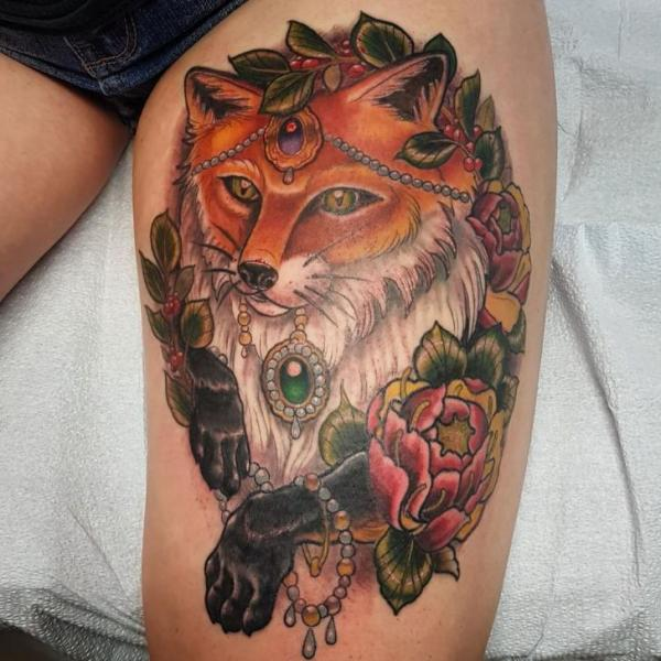 Flower Fox Thigh Tattoo by Adrenaline Vancity