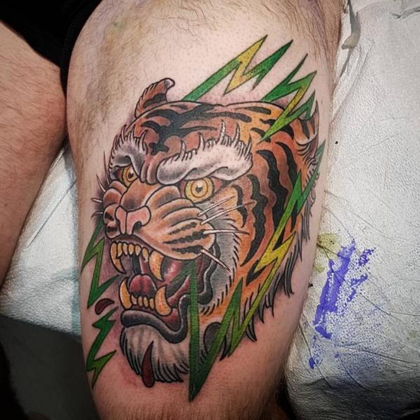 Tiger Thigh Tattoo by Adrenaline Vancity
