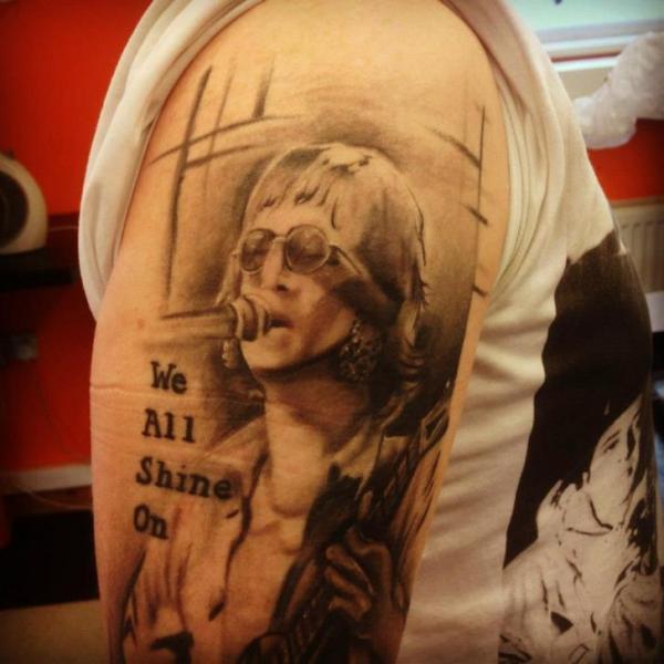 Shoulder Realistic John Lennon Tattoo by Gtc Tattoo