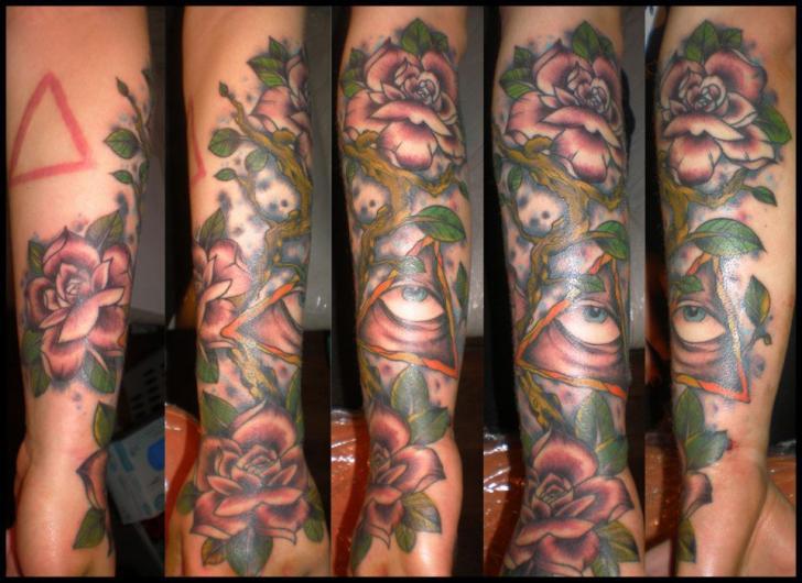 Arm Flower God Tattoo by Hammersmith Tattoo