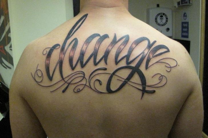Lettering Back Tattoo by Hammersmith Tattoo