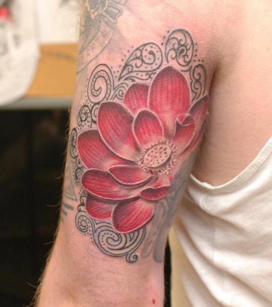 Shoulder Flower Tattoo by Hammersmith Tattoo