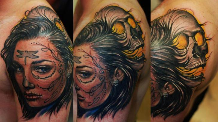 Shoulder Mexican Skull Tattoo by Hammersmith Tattoo