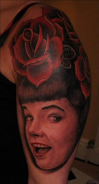 Shoulder Portrait Realistic Flower Tattoo by Hammersmith Tattoo