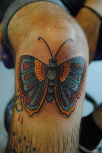 New School Leg Butterfly Tattoo by Hell To Pay Tattoo