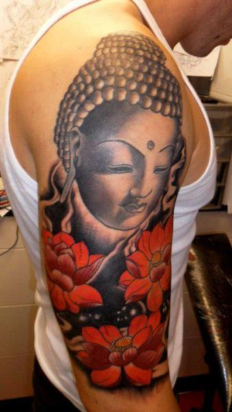 Shoulder Flower Buddha Tattoo by Hell To Pay Tattoo
