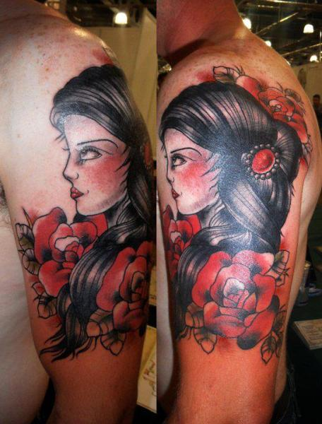 Shoulder Old School Gypsy Tattoo by Hell To Pay Tattoo