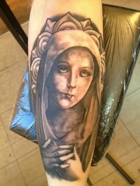 Arm Religious Madonna Tattoo by Holy Cow Tattoos