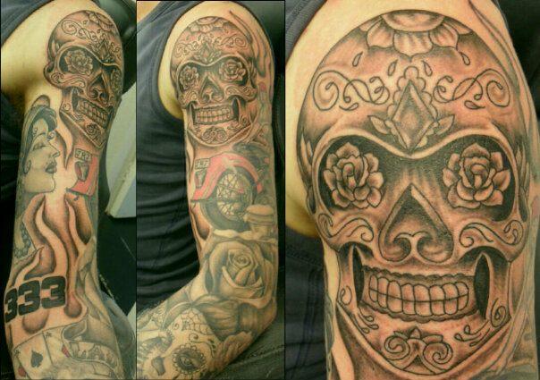 Shoulder Skull Tattoo by Sean Body Art