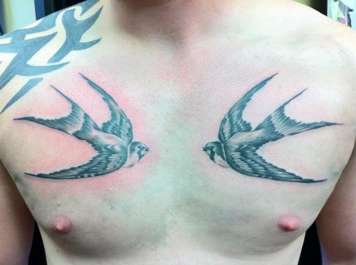 Realistic Chest Swallow Tattoo by Cake Happy Tattoo