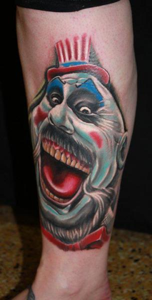 Fantasy Leg Clown Tattoo by Cake Happy Tattoo
