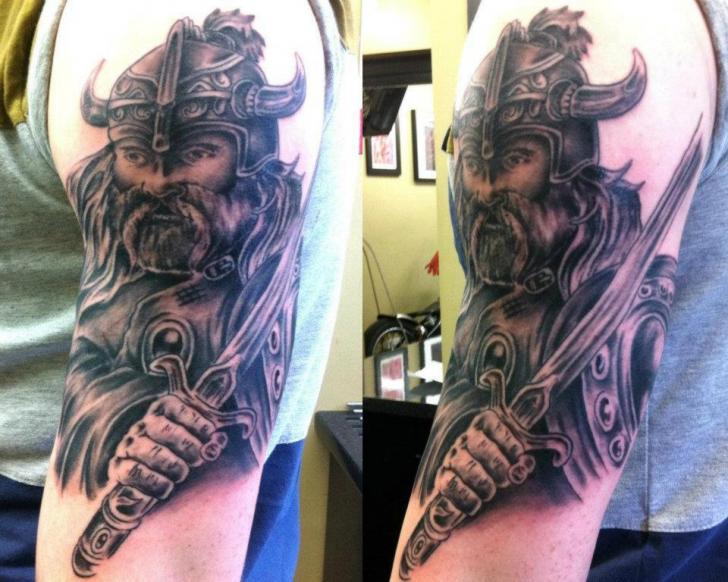 Shoulder Fantasy Warrior Tattoo by Cake Happy Tattoo