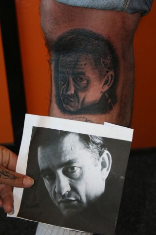 Portrait Realistic Leg Tattoo by Wrexham Ink