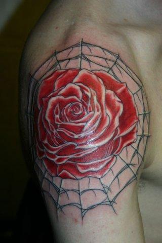 Shoulder Flower Tattoo by Wrexham Ink