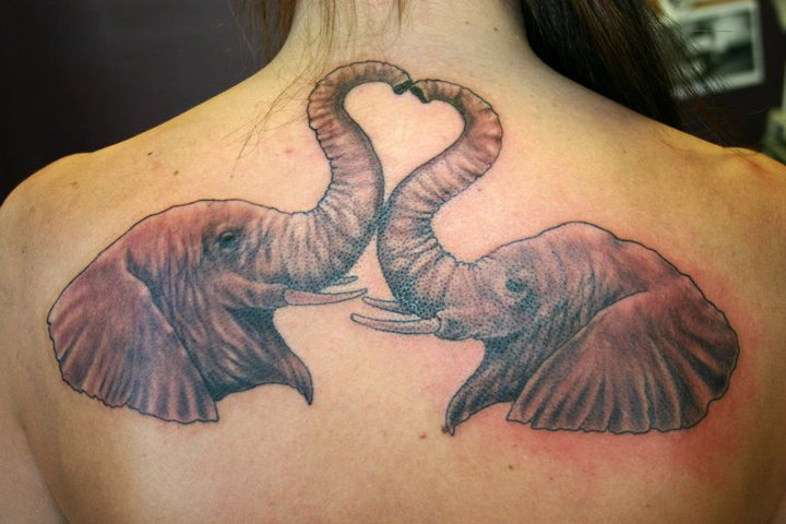 Back Elephant Tattoo by 46 and 2 Tattoo